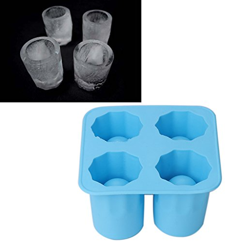Hunulu Silicone Ice Cube Tray 4 Cells Shot Glasses Cup Shape Freeze Molds Makers Tray Party Blue