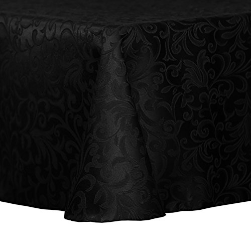 Ultimate Textile Vintage Damask Somerset 60 x 120-Inch Oval Tablecloth Black