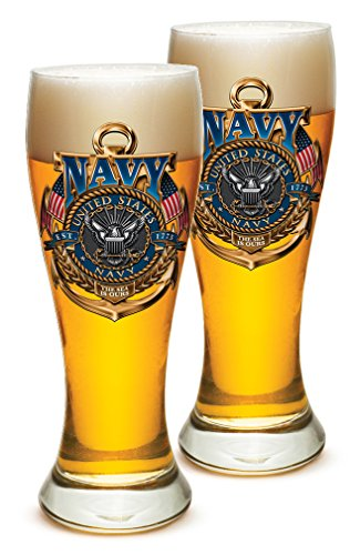 Pilsner United States Navy Gifts for Men or Women – US Navy American Soldier Beer Glassware – The Sea Is Ours Barware Glasses Set of 4 23 Oz
