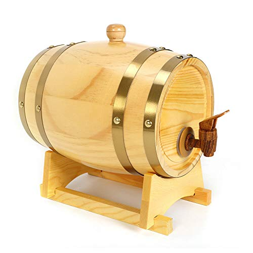 BoTaiDaHong 5 Liter 132 Gallon Oak Barrel with Stand for Storage Whiskey Wine Beer Bourbon Tequila