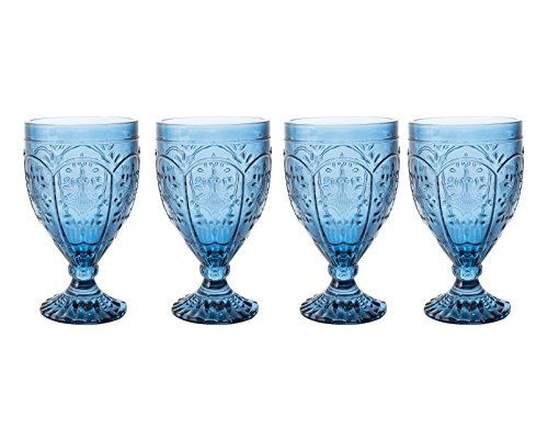 Fitz and Floyd 83-002 Trestle Collection Set of 4 Glass Goblets 12-Ounce Indigo