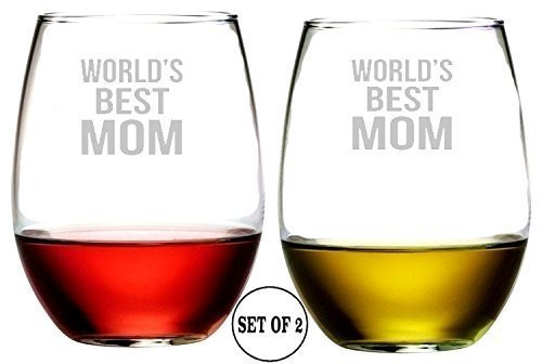 World Best Mom Set of 2 Stemless Wine Glasses Etched Engraved Monogrammed hand Made
