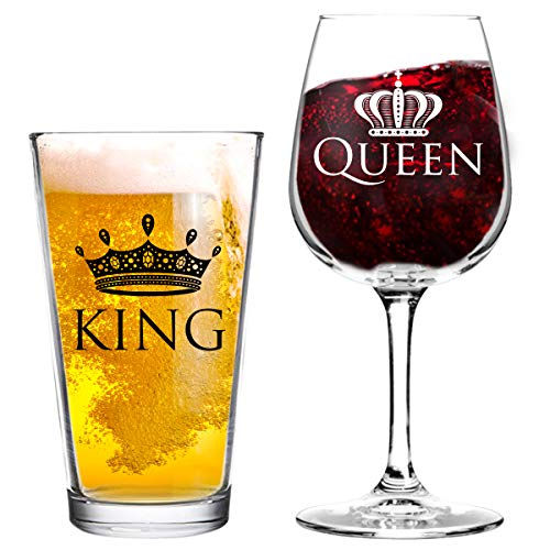 King and Queen Beer and Wine Glass Gift Set of 2  Fun Novelty His and Hers or Husband Wife Drinkware  Couple Newlywed Anniversary Gift  Wedding Present or Favorite Couples Gift  USA Made