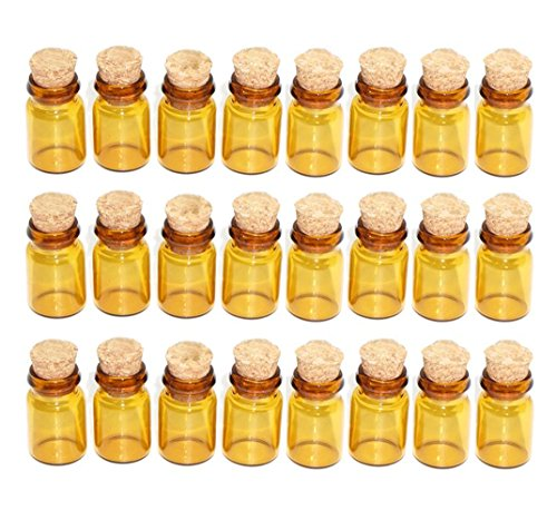 50Pcs 05ml Vials Amber Glass Bottles with Corks Stoppers Miniature Wishing Decoration Crafts Vials Jars for DIY Decoration Arts Crafts Projects Party Favors