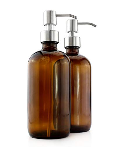 Daliuing Amber Glass Bottles wStainless Steel Pumps 2-Pack Lotion Soap Dispenser Brown Boston Round Bottles for Aromatherapy DIY Home Kitchen