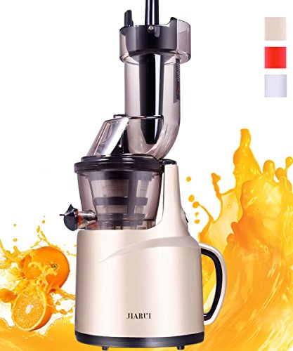 JIARUI Masticating Juicer Slow Juicer with Quiet Motor Cold Press Juicer Fruits Vegetable Juice Extractor High Juice Yield High Nutrient Anti-Oxidation240W AC Motor 45RPM Gold