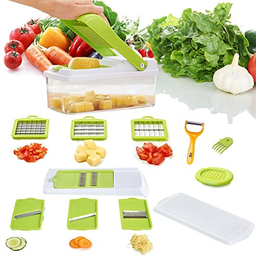 Make Real 11 in 1 Function Mandoline Slicer Potato Onion Vegetable Cutter Plastic Body Stainless Blades for Home Use
