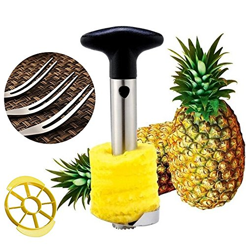 5-in-1 Fruit Tools With Fruit Forks Stainless Steel Pineapple Corer Slicer Peeler Wedger Device Better Enjoy The Fruit Production Process Good For Home Garden Party