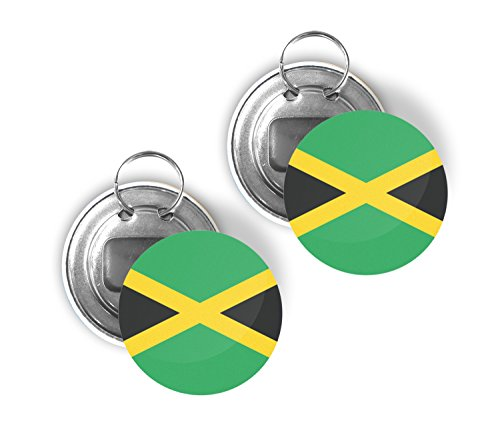 Country of Jamaica Two Pack of Flag Beer Bottle Opener Keychain Buttons 225-inch Round Jamaican