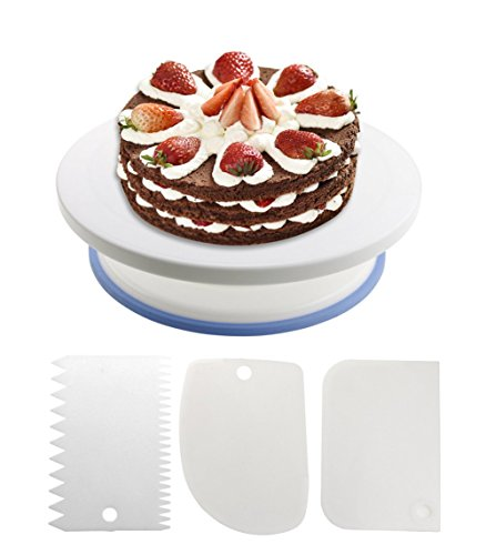 Redlake Cake Plate Rotatable Turntable Cake Decorating Turntable with 3 cream plastic scraper for Baking Pastries