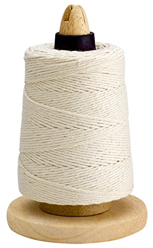 500 Feet Cooking Twine with Non-Slip Portable Wood Holder and Cutting Blade – 100 Cotton Materials – Ideal for DIY Crafts and Food Packaging – Professional Chef Grade Butchers Meat Strings