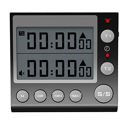 Digital Countdown Timer 2 Channel Flashing LED for Lab Electronic Kitchen Homework Exercise Gym Workout Cooking Sports Games and Classroom Black