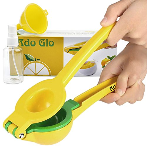 Ado Glo Lemon Squeezer - Heavy Duty Metal Lime Juicer - Manual Citrus Press with Lemon Sprayer Small Funnel